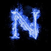 Fire letter N of burning blue flame. Flaming burn font or bonfire alphabet text with sizzling smoke  poster