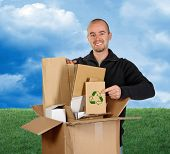 picture of recycled paper  - fine image 3d of green lawn and sky background man recycling paper - JPG