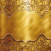 Постер, плакат: Золото металлическая пластина с классическим орнаментом большая коллекция