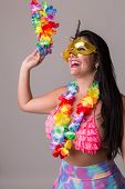 Brunette woman on carnival costume poster