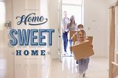 Family Carrying Boxes Into New Home Sweet Home poster