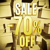 Gold 70 Percent Off Discount 3d Sign with Packaging Boxes Sale Banner Template, Special Offer 70% Of poster