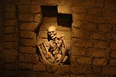 picture of burial-vault  - Mummy from ancient Peruvian culture with light on the center - JPG