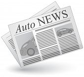 Auto news. Vector illustration of cars news icon.