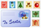 Christmas postcard and stamps. Mail for Santa and Christmas postage stamps.