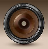 A camera lens vector illustration with realistic reflections on brown background