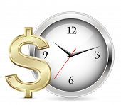 Time is money. Office Clock and Dollar Sign.