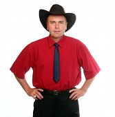 Senior manager with traditional cowboy's hat.