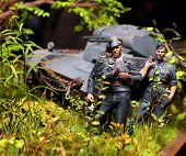 Wehrmacht soldiers on a battlefield WW2, plastic kit 1 : 48 scale homemade work