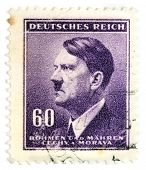 GERMANY - CIRCA 1942: A stamp printed in The Protectorate Czech and Moravia shows portrait of Adolf