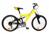 Yellow Mountain bicycle on a white background.