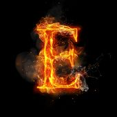 Fire letter E of burning flame. Flaming burn font or bonfire alphabet text with sizzling smoke and f poster