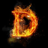 Fire letter D of burning flame. Flaming burn font or bonfire alphabet text with sizzling smoke and f poster