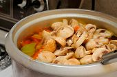 Mushrooms Cooking In Pot