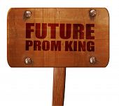 prom king, 3D rendering, text on wooden sign poster