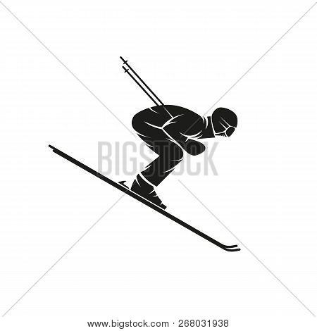 Silhouette Of A Skier Downhill