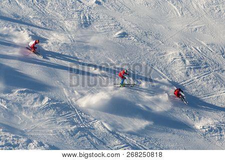 Ski School Aerial View Downhill