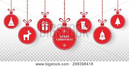 Merry Christmas No Background.Merry Christmas Balls Set On Transparent Background Bright Red Hanging Xmas Balls With Santa Hat R Poster