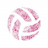 Pink Abstract Volleyball Symbol Isolated On White Background poster