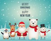 Merry Christmas New Years Companions. Cute Christmas Animals, Penguin, Deer, Santa Claus, White Pol poster