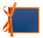 blue tag with orange ribbon