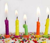 pic of birthday-cake  - burning candles on the cake - JPG