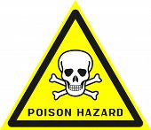 Triangle Sign: poison Hazard. Triangle Sign: poison Hazard Zone. Sign: poison Hazard On A Gray poster