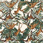 Wild Animal Monkeys On Creepers Liana On The Tropical Leaves Background Seamles Tropical Pattern Com poster