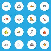 Clothes Icons Colored Line Set With Waistcoat, Mini, Gumshoes And Other Vest Elements. Isolated  Ill poster