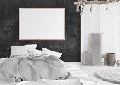 Mock-up Poster In Old Shabby Bedroom Interior, 3d Illustration poster