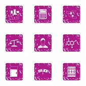 Correct Chemical Composition Icons Set. Grunge Set Of 9 Correct Chemical Composition Vector Icons Fo poster