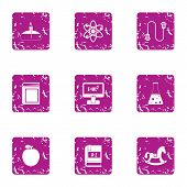 Academic Degree Icons Set. Grunge Set Of 9 Academic Degree Vector Icons For Web Isolated On White Ba poster