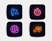 Neon Set Of Algorithm, Heartbeat Timer And International Love Icons. Quick Tips Sign. Developers Job poster