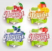 Mango, Cherry, Strawberry And Blueberry Yogurt Label With Splash, Fresh And Natural, For Your Brand, poster