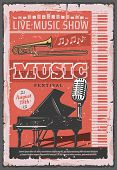 Live Music Show Retro Poster, Musical Festival Of Jazz Or Orchestra Concert. Vector Vintage Design O poster