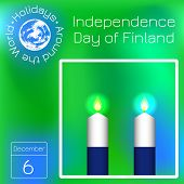 Independence Day Of Finland. Flag Of Finland. 2 White And Blue Candles. Calendar. Holidays Around Th poster