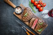 Grilled Marbled Meat Steak Filet Mignon With Seasonings. Juicy Beef Steak On Cutting Board, Top View poster
