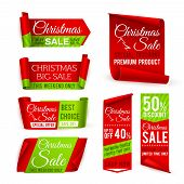 Christmas Sale Banners. Red Silk Ribbons With Christmas Discount And Winter Xmas Holiday Offer Text. poster