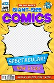 Comic Book Cover. Vintage Comics Magazine Layout. Cartoon Title Page Vector Template. Comic Book Anf poster