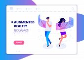 Augmented Reality Banner. People With Headset And Vr Glasses Gaming In Virtual Reality. Futuristic T poster