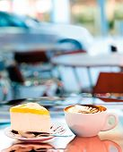 Cup of coffee. Outdoor Cafe.
