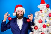 Businessman Join Christmas Preparation. Christmas Fun. Man Bearded Hipster Wear Formal Suit And Sant poster