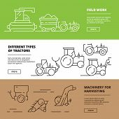Agriculture Banners. Farm Machinery Harvester Tractors Agribusiness Vehicle Vector Design Template.  poster