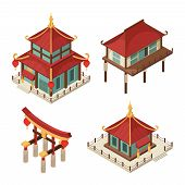 Asian Buildings Isometric. Chinese Gate Traditional Japanese Houses Pagoda Roof Shintoism Vector 3d  poster