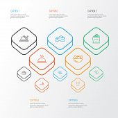 Nutrition Icons Line Style Set With Food Delivery, Hot Meal, Shrimp And Other Healthy Food Elements. poster