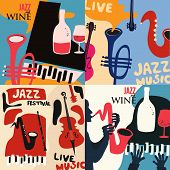 Set Of Music Cards And Banners. Music Cards With Instruments Flat Vector Illustration Design. Jazz M poster