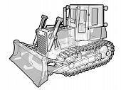 foto of jcb  - A sketchy schematic illustration of a treaded earth moving vehicle - JPG