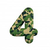 Army number 4 - 3d Camo digit isolated on white background. This alphabet is perfect for creative il poster