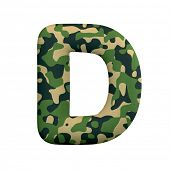 Army letter D - Uppercase 3d Camo font isolated on white background. This alphabet is perfect for cr poster