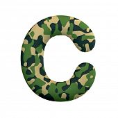 Army letter C - large 3d Camo font isolated on white background. This alphabet is perfect for creati poster